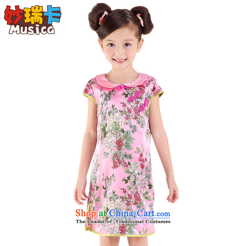 Mya@ 2015 Summer children's wear new products of ethnic girls qipao CUHK child Tang dynasty stamp cheongsam dress skirt pink 160