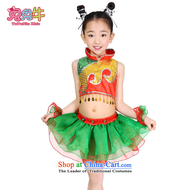 61. Children will girls folk dance show services early childhood dapshim song and dance performances to serve children wearing costume Figure Color  130