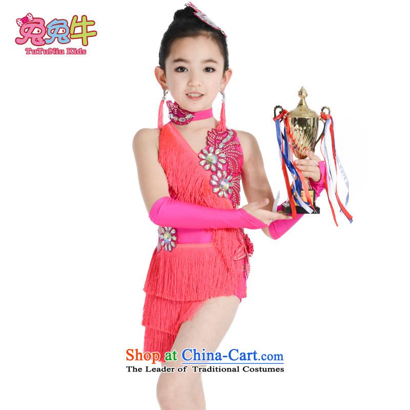 61. Children Latin dance performances to stream su children Latin dance category clothing girls Latin dance performances by the red uniform skirt聽140