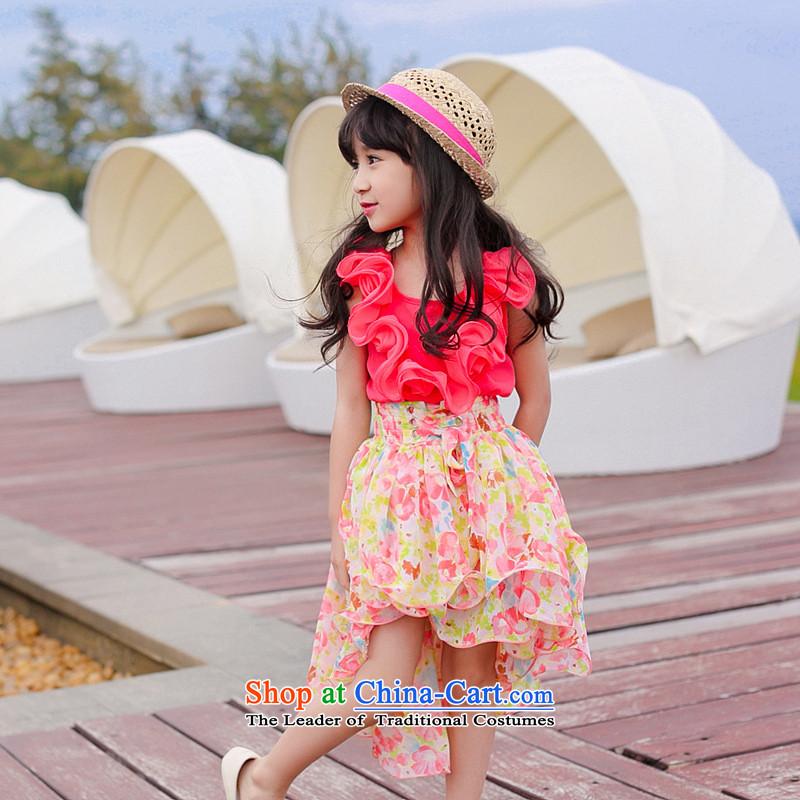 Children's wear girls Summer 2015 princess skirt dresses sweet saika new stitching chiffon crowsfoot beach skirt watermelon Red140