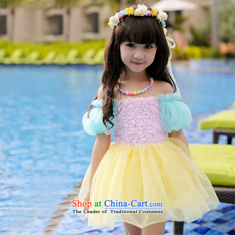 Cuhk child 2015 children's wear girls Summer Snow White Dress colorful leakage shoulder dress skirt bubble cuff cake vest skirt Powder Blue聽140