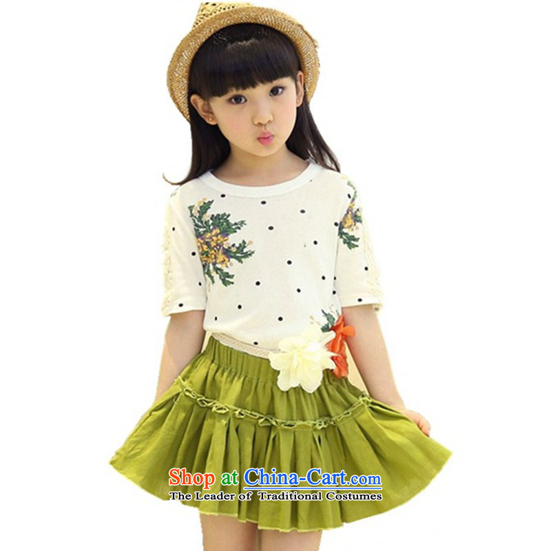 Children's wear costumes and celebrate Children's Day?2015 Summer new Korean Wave Point Princess Lounge skirt kit army green belts to skirt?160