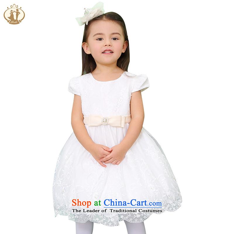 Tien Po 2015 new girls dresses children short-sleeved Korean lace princess skirt child Flower Girls dress skirt small moderator show skirt watermelon Red90cm