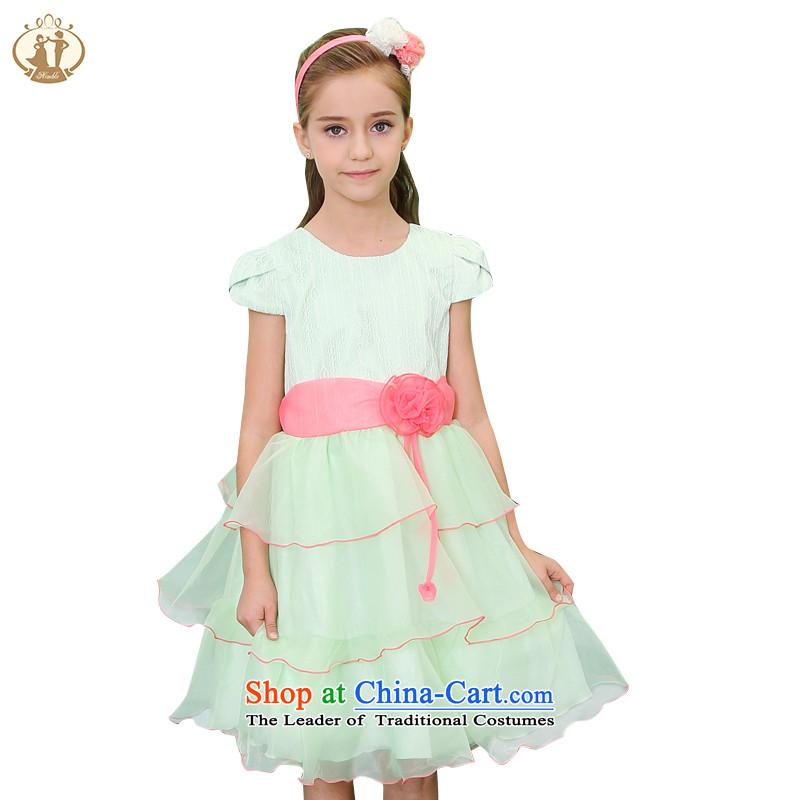 Tien Po new spring and summer 2015 girls princess skirt wedding dress children dress skirt cuhk child short-sleeved dresses m white/red135cm.