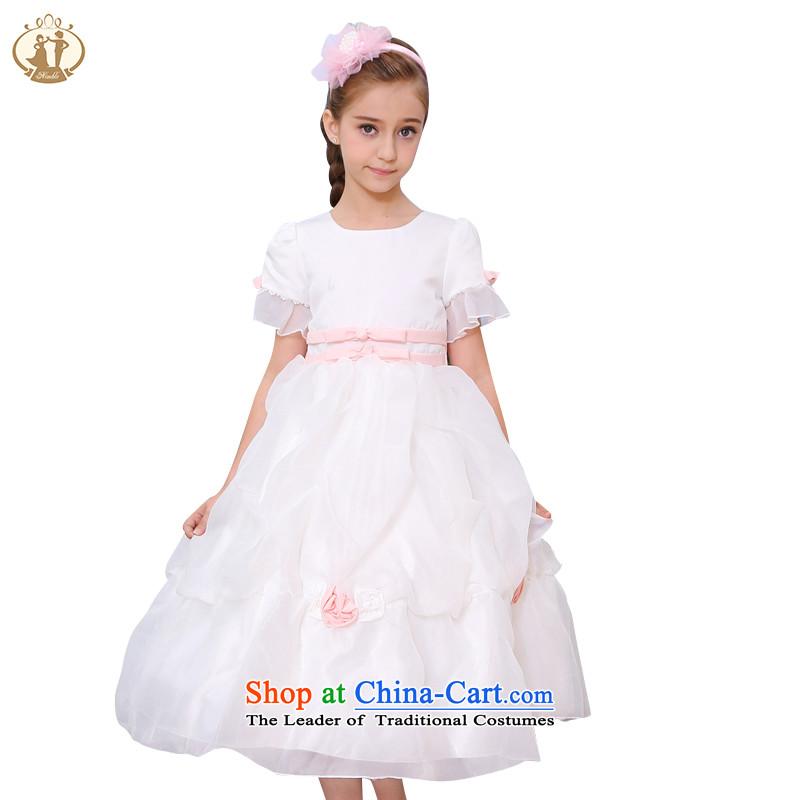 Tien Po 2015 new girls princess skirt Flower Girls skirt creases bubble cuff skirt a performance by students dress skirt m_Toner Orange?100 cm