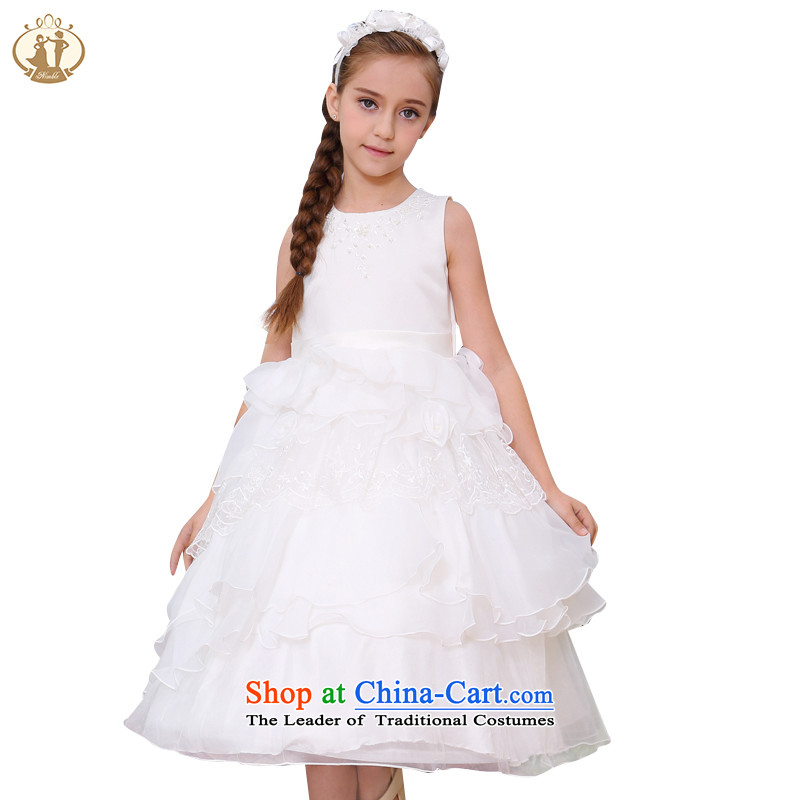 Tien Po children by 2015 new staple Pearl Princess skirts embroidery girls fine lace wedding dress dress skirt rice white100cm