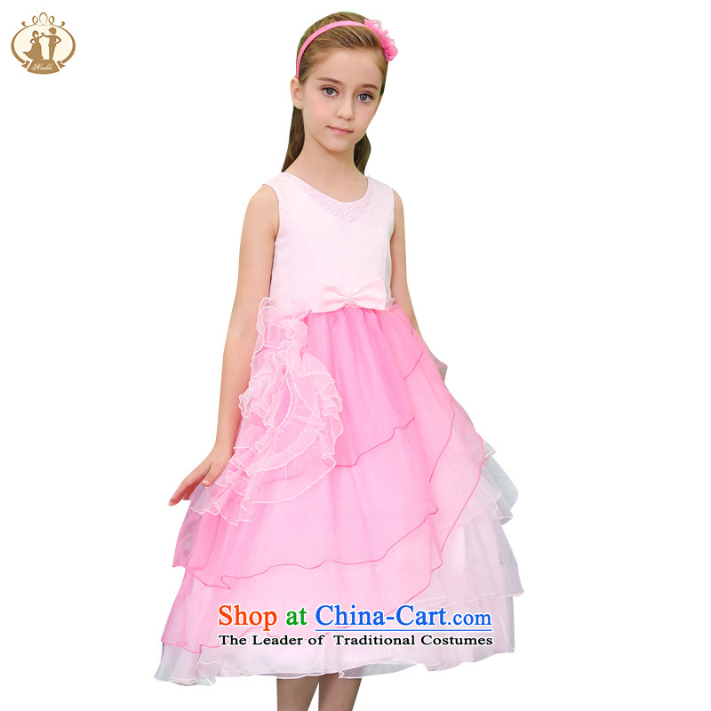Tien Po children by 2015 new beautifully crafted nail Pearl Princess skirt girls wedding dress dress skirt lace dresses pink100cm
