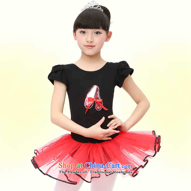 The girl child dance skirt short-sleeved performance early childhood ballet girls exercise clothing Black 160