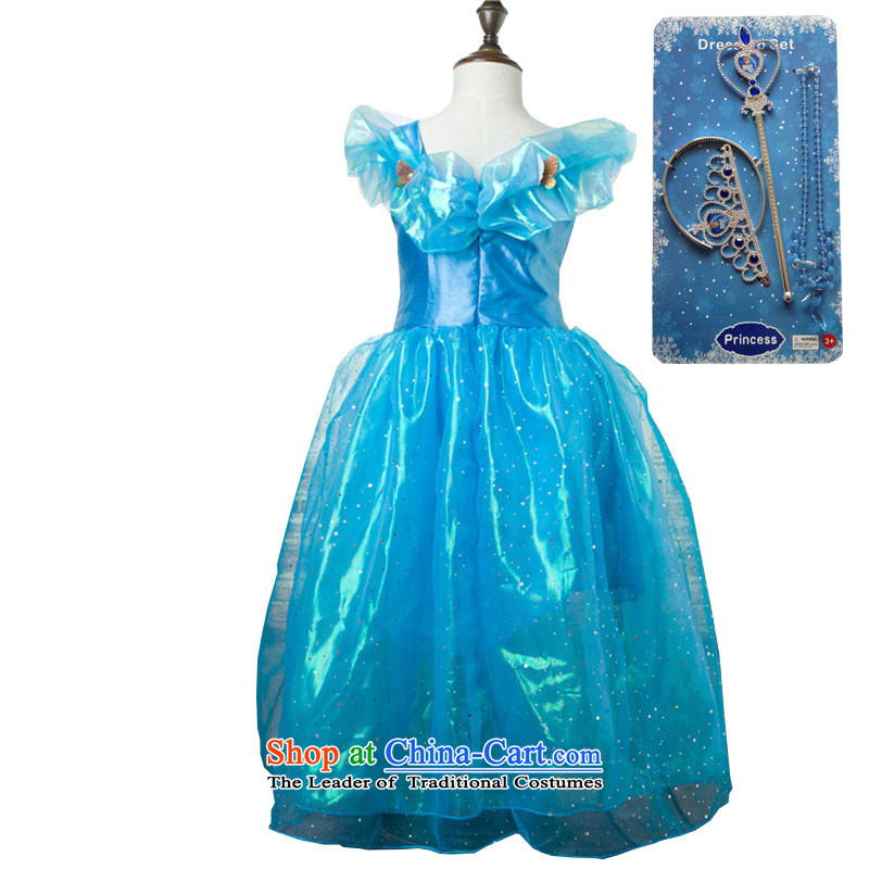 In accordance with the purchase of new 2015, hundreds of Cinderella children dress snow and ice princess Qi Yuan skirt short-sleeved bon bon dresses children Christmas costumes and dress skirts blue dress + Crowne Plaza 3-piece set 140