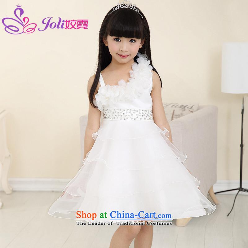 Each Princess skirt girls Ngai girl children's apparel will Flower Girls dress聽2015 Summer girls short-sleeved princess skirt White聽110
