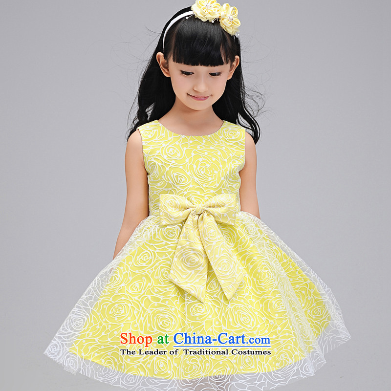 Each child dress skirt Princess Ngai skirt girls bon bon skirt short, lace dress children wedding flower girls children will dress girls evening dresses yellow聽130