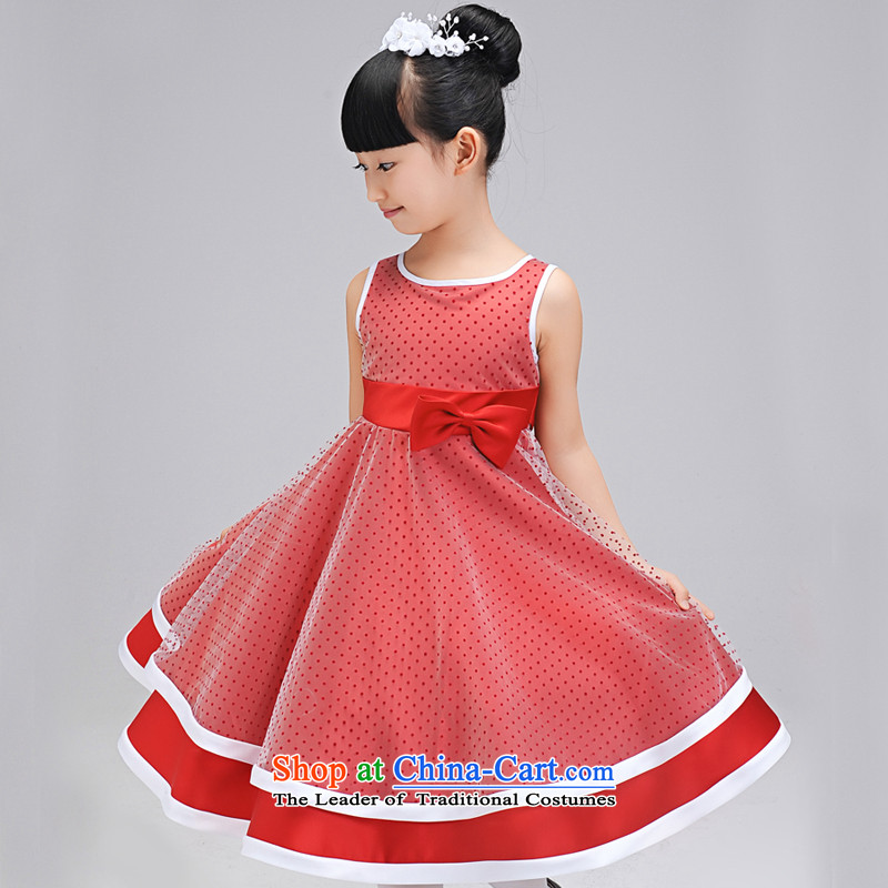 Each child dress flower girl Ngai dress children wedding dress Princess Margaret Flower Girls wedding dresses bon bon skirts birthday deep red 130