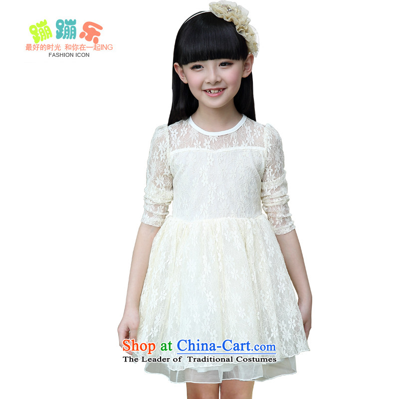 Children fall for summer lace princess skirt Girls Choir Score will dress Chumphon Fung skirt Flower Girls dress autumn wedding dress girls birthday gift white聽reference height 5.30 around 130