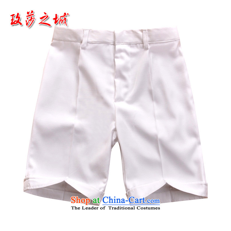 Children in white trousers celebrate Children's Day kindergarten students under the auspices of game show pants and white shorts and Flower Girls summer dress pants elastic white聽150 _Spot_
