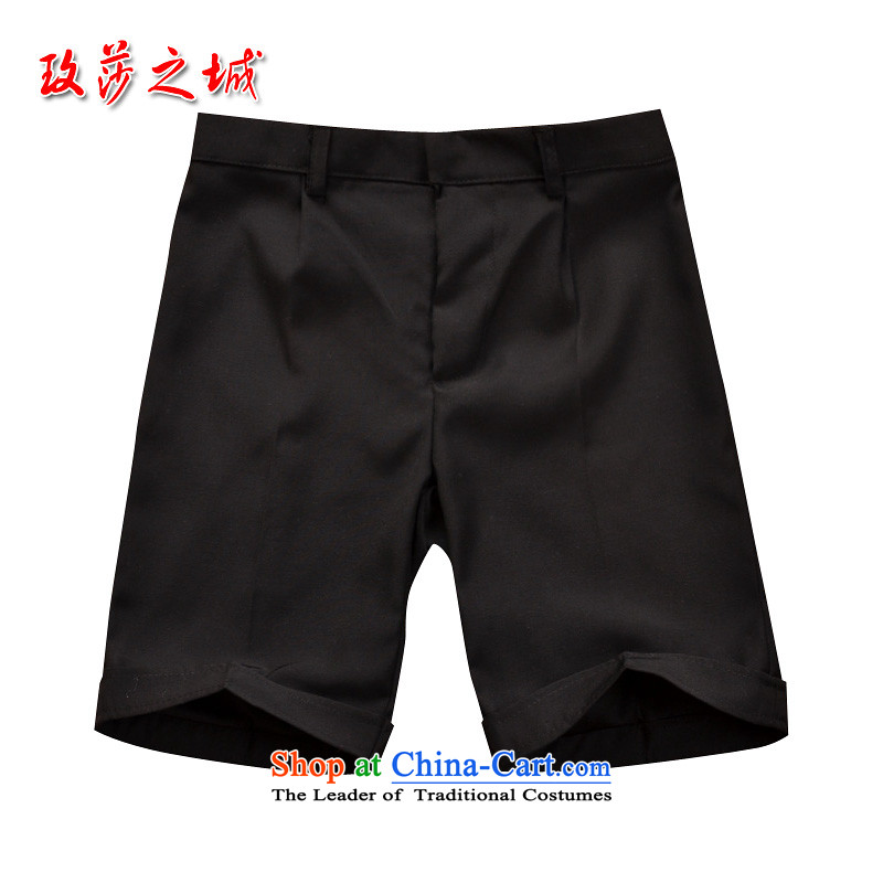 Children in pure black trousers celebrate Children's Day kindergarten students under the auspices of game show pants black shorts and Flower Girls summer dress pants elastic black聽spot 150_