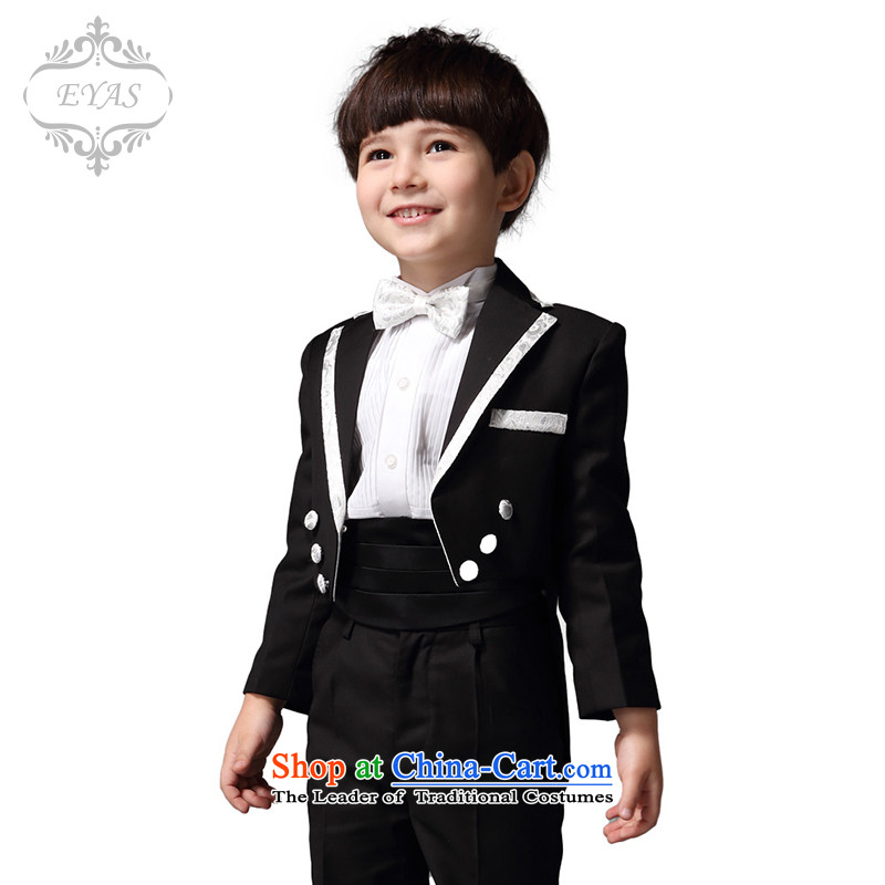 Eyas children dress boys frock coat Kit Flower Girls dress moderator to live piano music boy during the spring and autumn black suits 5 piece set 140