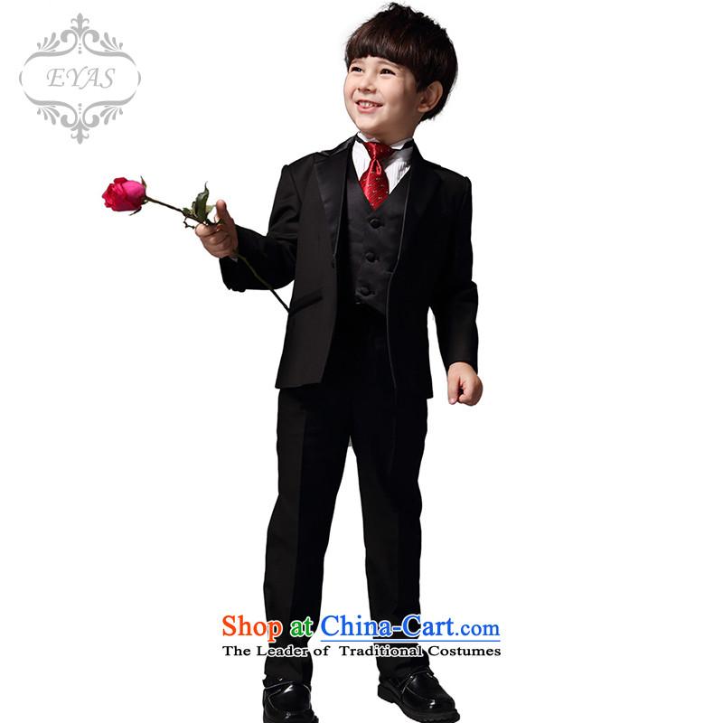 Eyas boy children suits CUHK girls suit dress Flower Girls Boys black autumn new Korean Black 5 piece set150