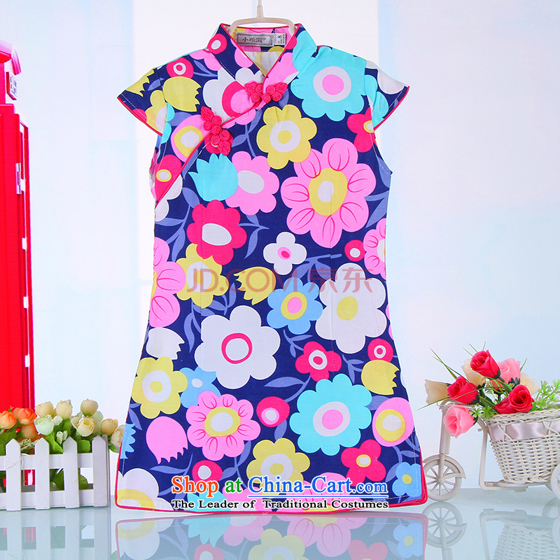Summer boutique-old baby girl babies cotton blended cloth robes girls aristocratic ocean air Tang dynasty China wind girls 4000 Blue130