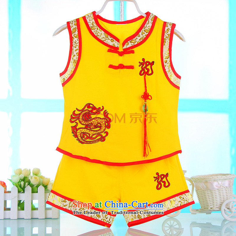 Children's Wear young boys to Tang dynasty Summer Children Pure Cotton Sleeveless Kit China wind baby Tang dynasty 4674 years old summer Yellow 80