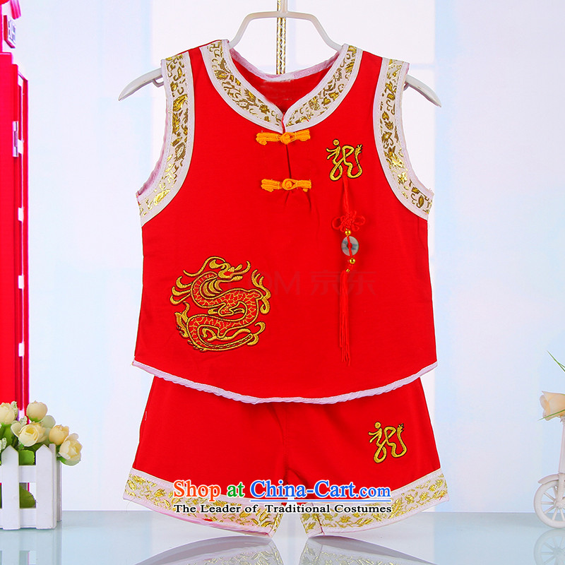 Children's Wear young boys to Tang dynasty Summer Children Pure Cotton Sleeveless Kit China wind baby Tang dynasty 4674 years old summer Red 100