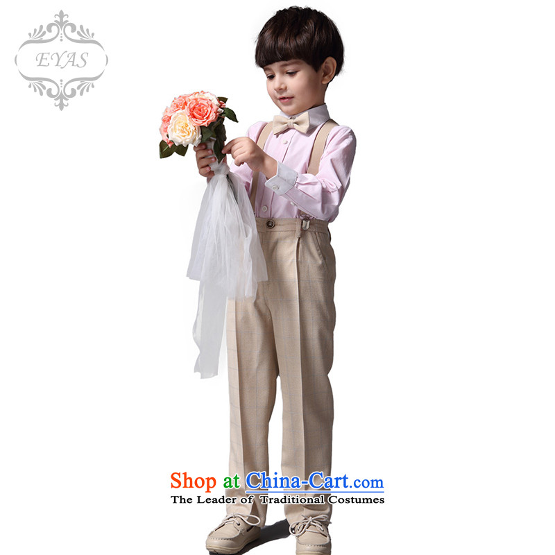 Eyas children back long-sleeved dress suit kit boy Korean Flower Girls clothing under the auspices of the spring and summer wedding performances apricot color grid 4 piece set 150