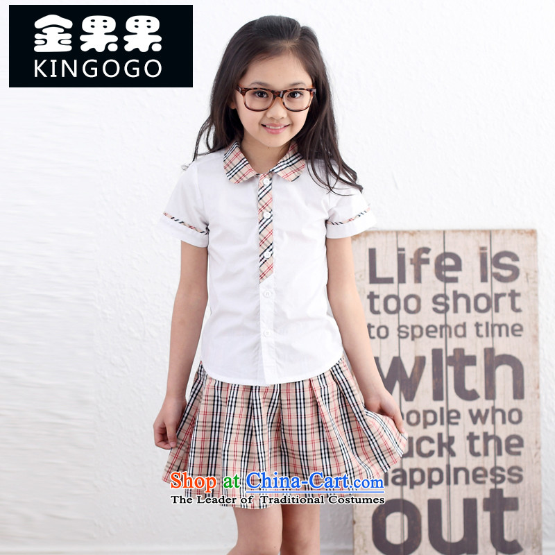 Children's Wear summer school uniform students men and women 2015 new boys and girls kit shirt shorts skirt Children 11003 White 160
