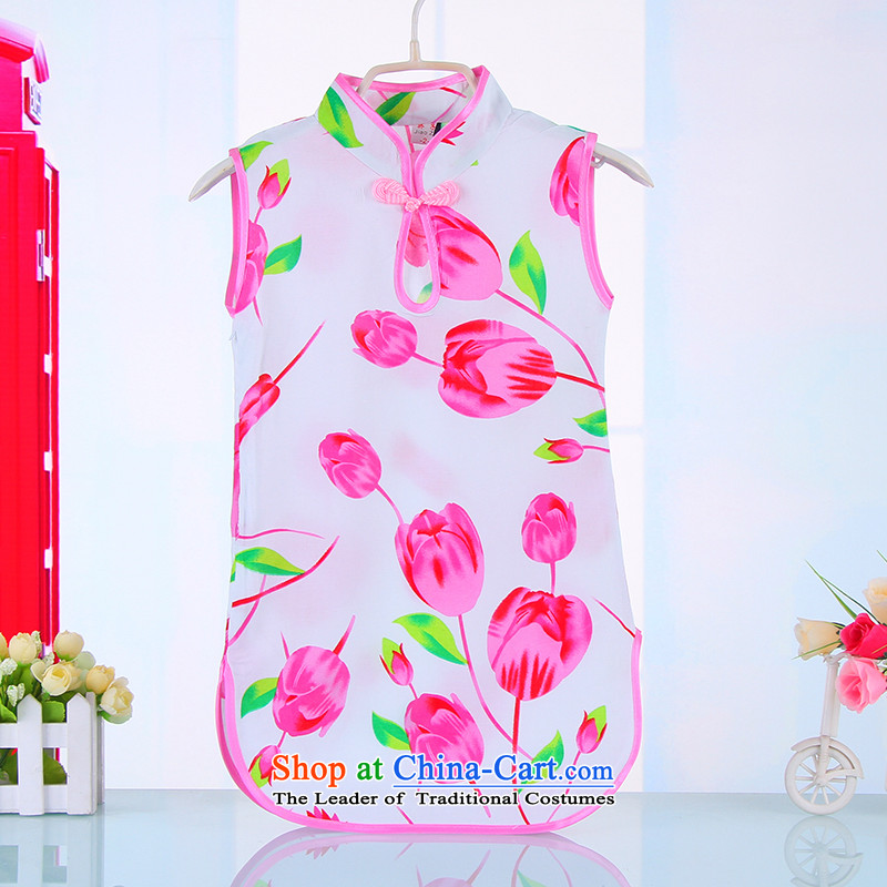 The new girls Tang dynasty princess cheongsam dress children Tang dynasty girls qipao summer pure cotton short-sleeved baby dresses 4,523 pink 140