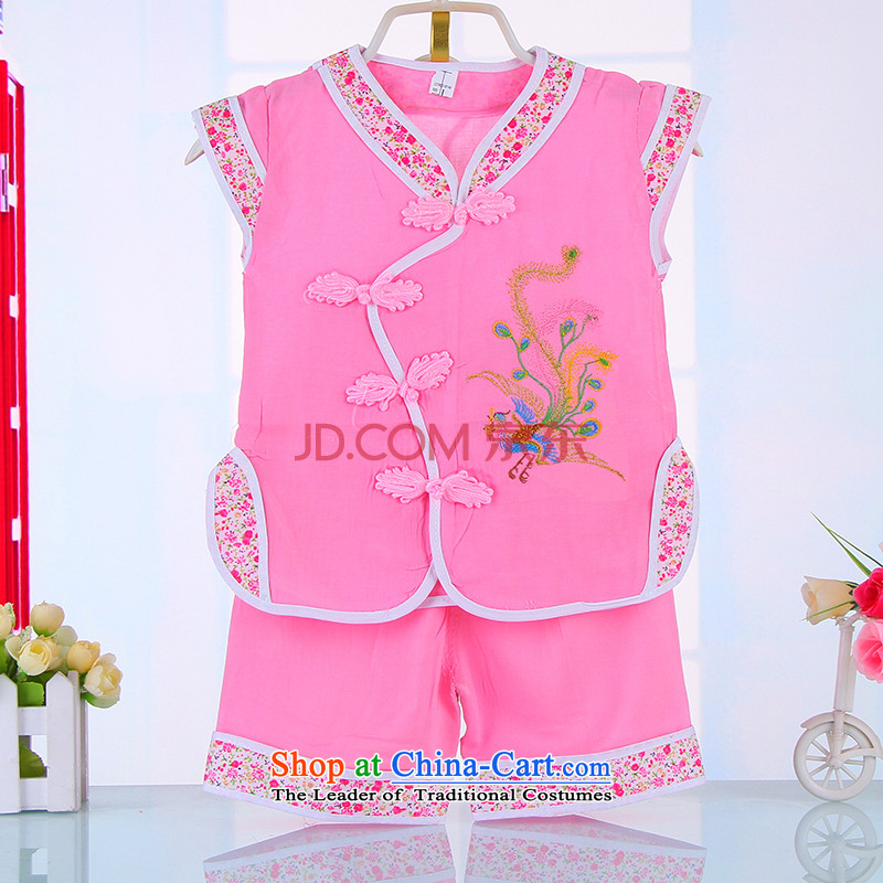 2015 girls Tang dynasty summer 61 Show Services Baby Nursery birthday dress the national costumes of 4,513 Chinese Pink 90