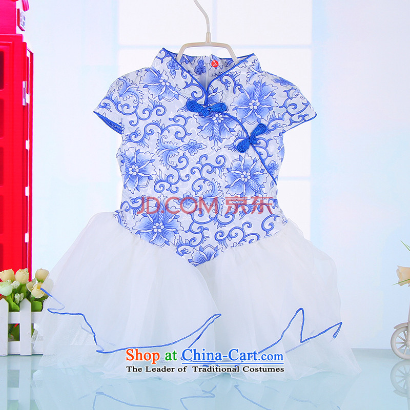 Mr Tang dynasty qipao children girls cotton qipao princess skirt guzheng will baby porcelain pure cotton cheongsam Blue?90