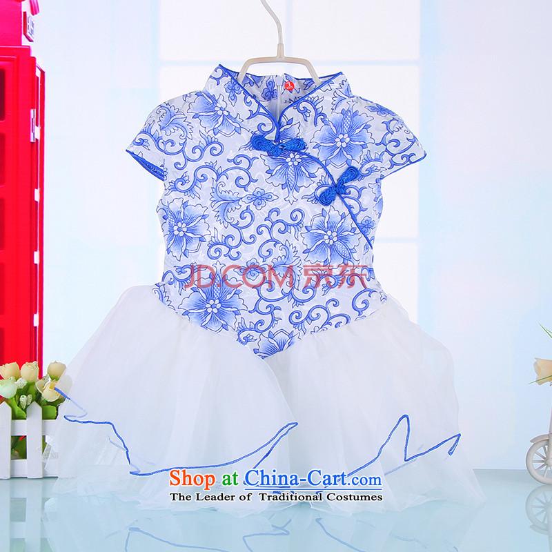 Mr Tang dynasty qipao children girls cotton qipao princess skirt guzheng will baby porcelain pure cotton cheongsam Blue�90