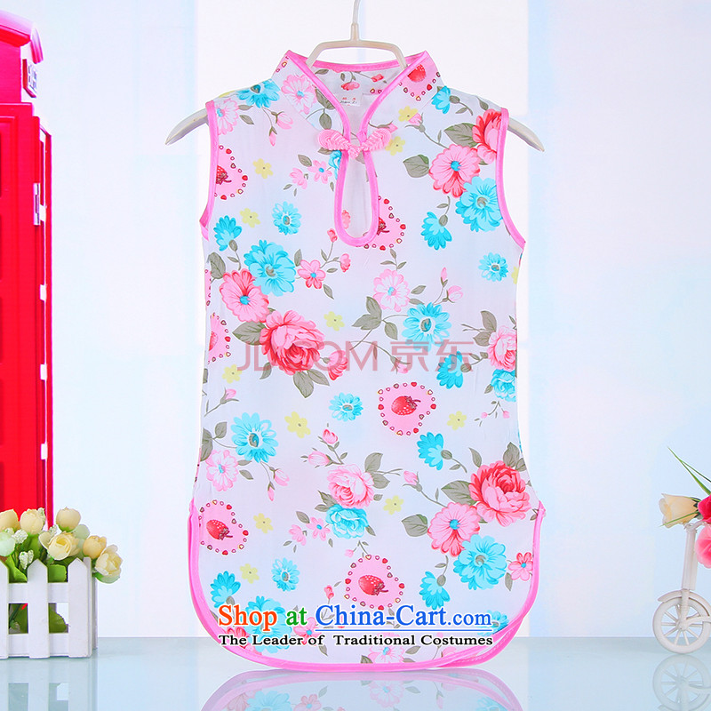 Mr Tang dynasty qipao children, girls short-sleeved dresses pure cotton dress your baby light blue sweet130