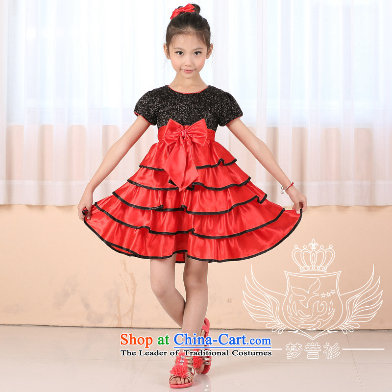 Christmas performances for clothing Halloween girls princess suits skirts spring, summer, autumn and winter load birthday dress dances singing piano skip moderator performance apparel black and red flashing red 135cm30 code