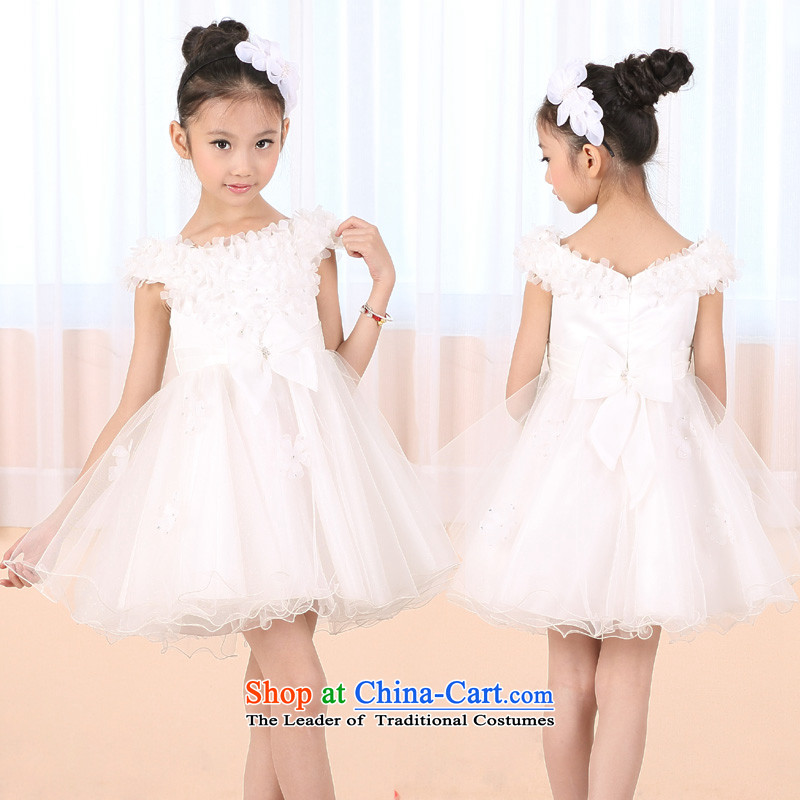 Dream of the girl child, the Netherlands largest renowned piano costumes children princess skirt white wedding dress bon bon flower children's wear bridesmaid dress singing violin t go to Flower Show white?135cm30 code