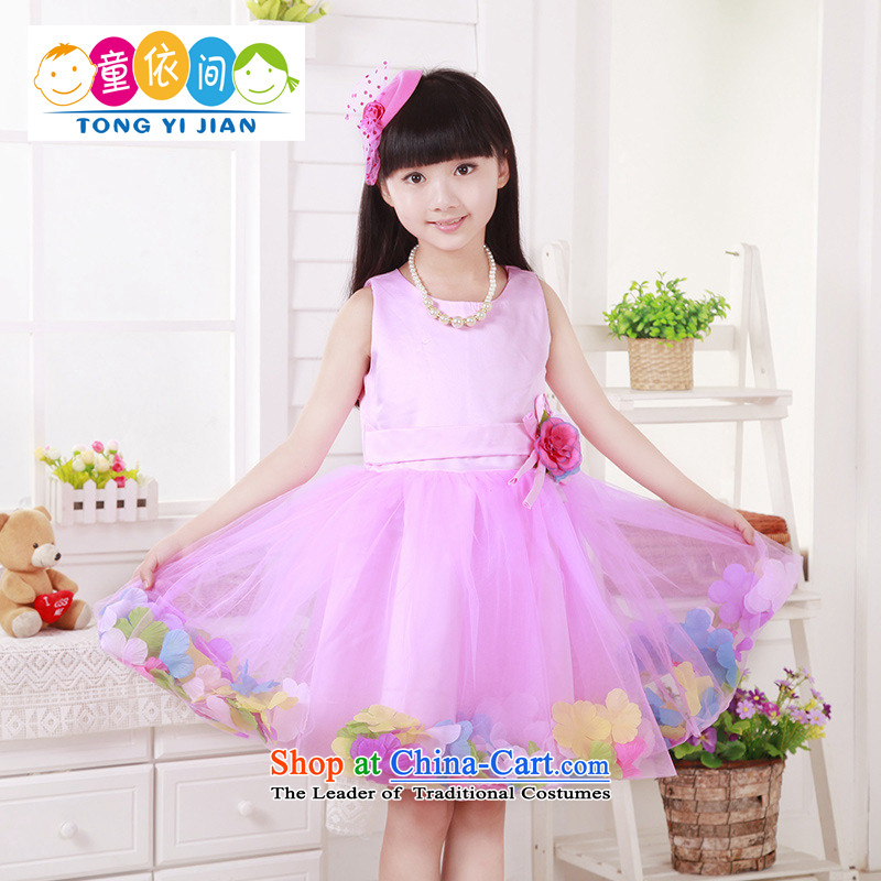 2015 Summer, children's wear gauze 61 Dance services connected petals Yi Girls skirt rose140