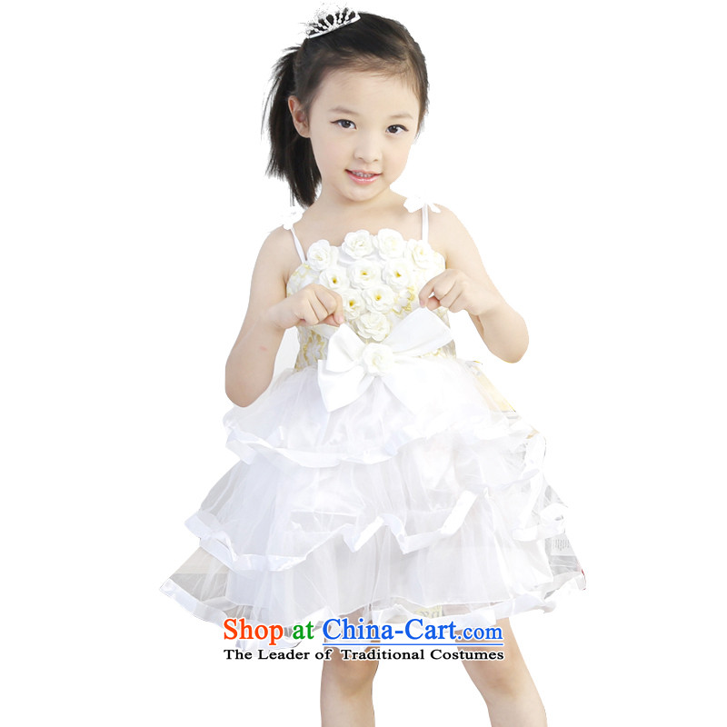 6.1 Children Dance skirt dress summer new girls the skirt of small and medium-sized child nurseries performances bon bon skirt White 110