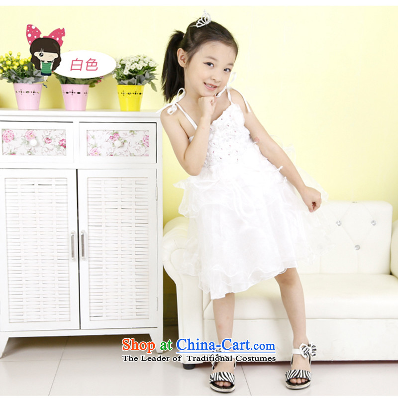 Children Princess skirt dress girls summer will dress skirt bon bon skirt straps skirt flowers skirt White 120