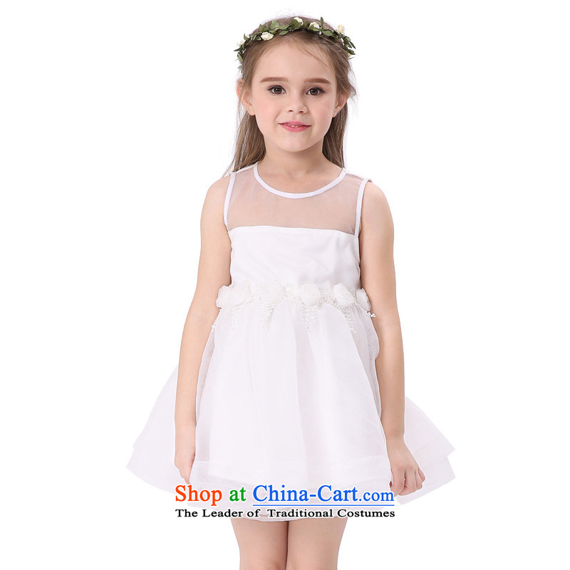 The new summer MIQIDIDA2015 vest skirts of children's wear dresses children princess OSCE root yarn girls dresses White 160