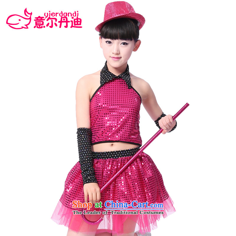 2015 61 children dance service female jazz dance performances to clothing to children early childhood stage performances on-chip in the Red Dress 160