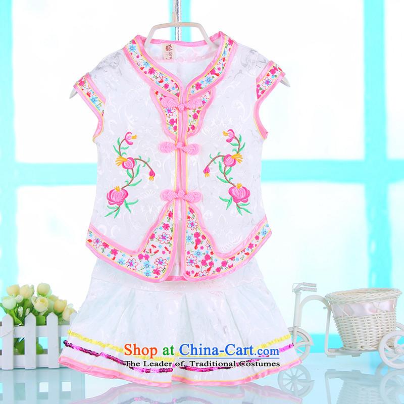 The girl child Students Summer 2015 new national kit girls short-sleeved princess skirts 4689 white children100