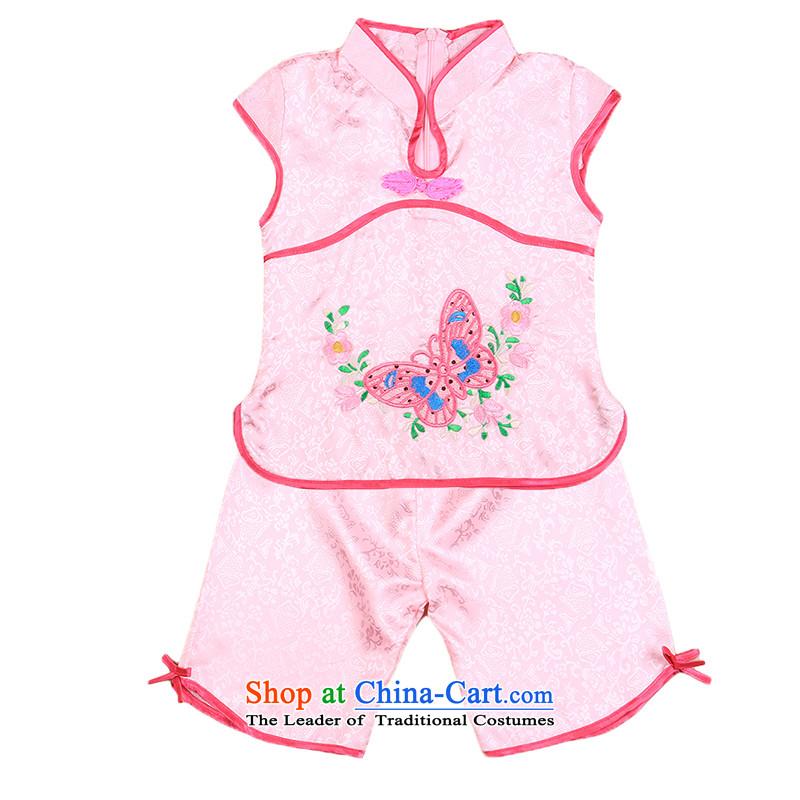 The girl child Students Summer 2015 new national kit girls short-sleeved children princess skirts 4809110cm, Pink