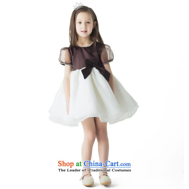 Po Jasmine children evening dresses girls autumn princess skirt banquet dress flower girls marry her dress and show services customized small Beige Brown +130 - chest waist 66 69.