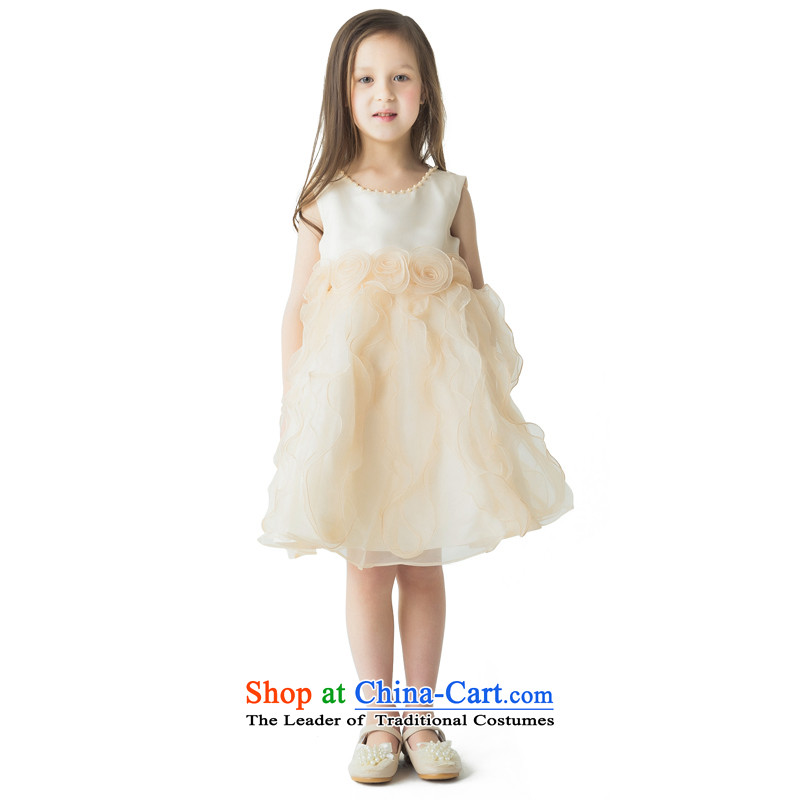 Po Jasmine children 61 show services your baby dress will dress skirt princess skirt girls autumn and winter dinner dress champagne color custom size - 5 day shipping