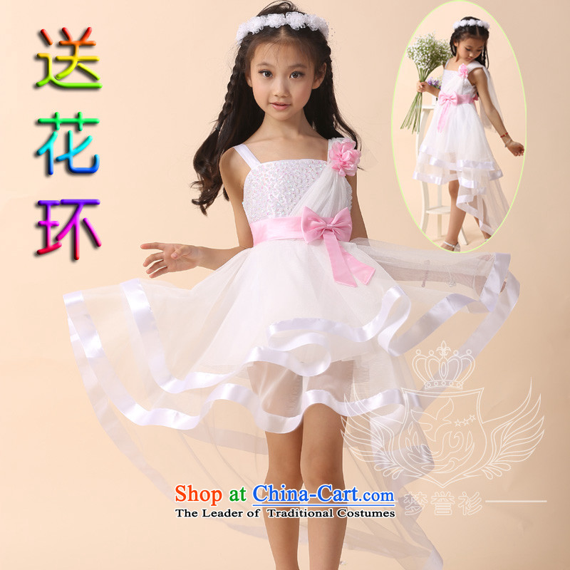 Goodwill Visit to the Netherlands children tail female flowers of children's wear skirts princess dress skirt long white wedding bon bon strap skirt upscale pure cotton theatrical performances clothing T desktop show white 120cm28 code