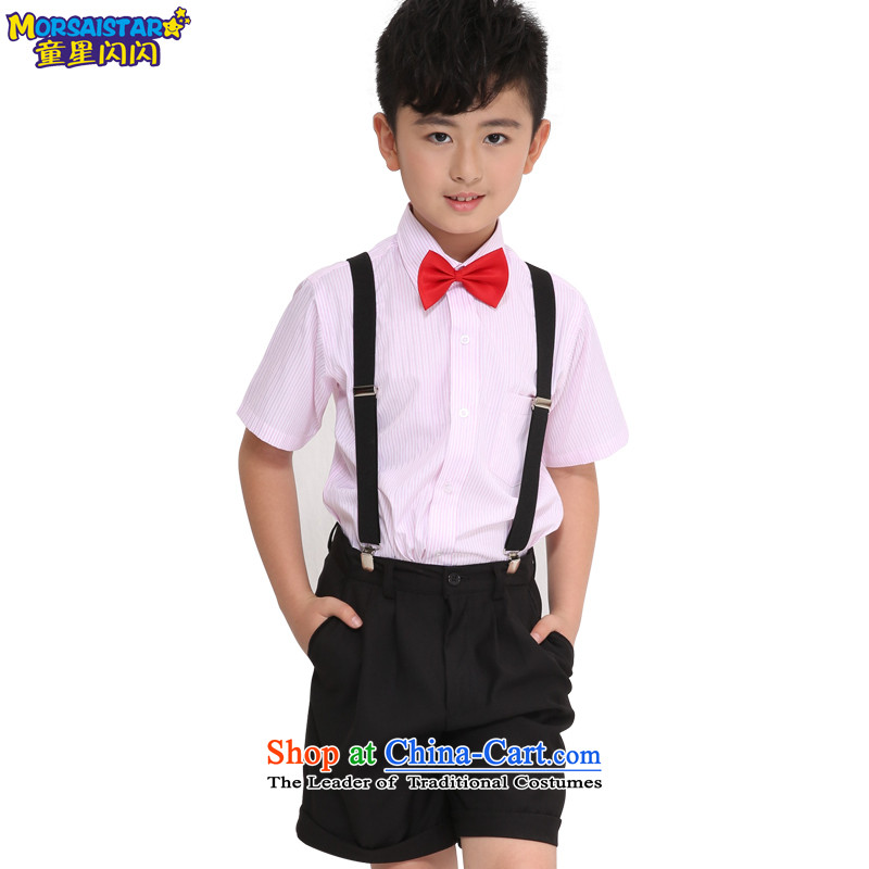 Child Star Shining Boy Children's Day 2015 primary and secondary school students to show a dance performance services Shu Tong service kit choral black shorts + pink shirt of the six piece 140