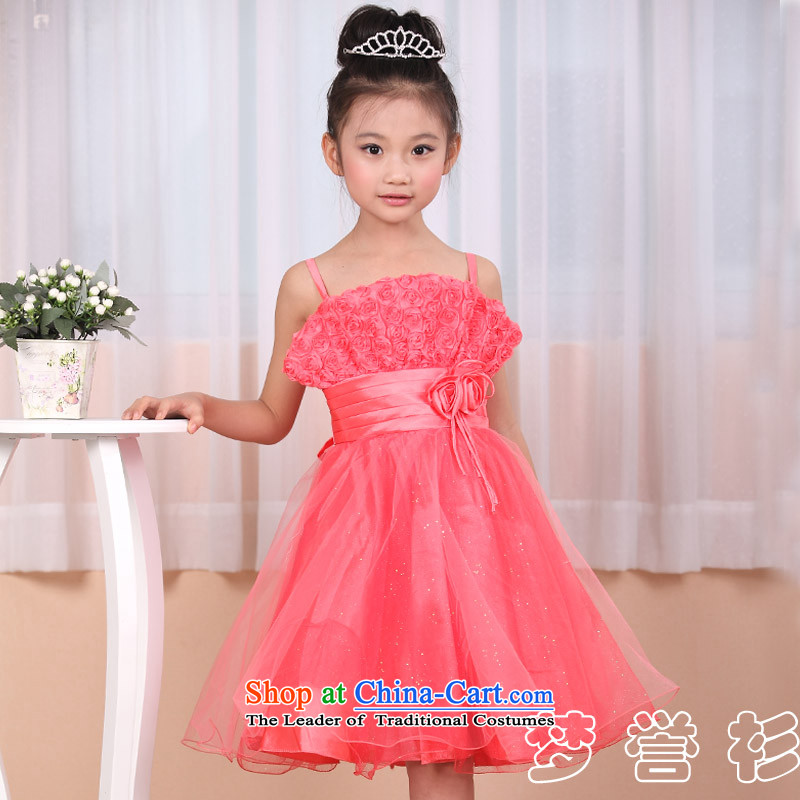 Goodwill Visit to the Netherlands Flower Girls and women to children's wear dresses princess skirt Korean bon bon wedding strap white watermelon red small girls singing dance performances for clothing Toastmaster of watermelon red150-155cm34 code