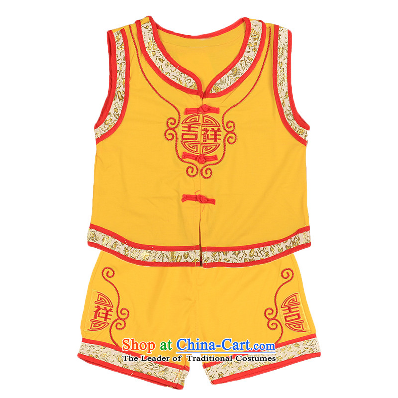 The baby boy Tang dynasty summer vest kit infant silk cotton red clothes of 100 years of age dresses field 4697th Yellow100cm