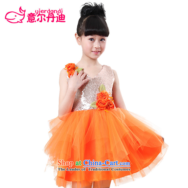 61. Children performances princess skirt dress girls theatrical performances services Flower Girls dress wedding dress princess skirt girls Orange聽130