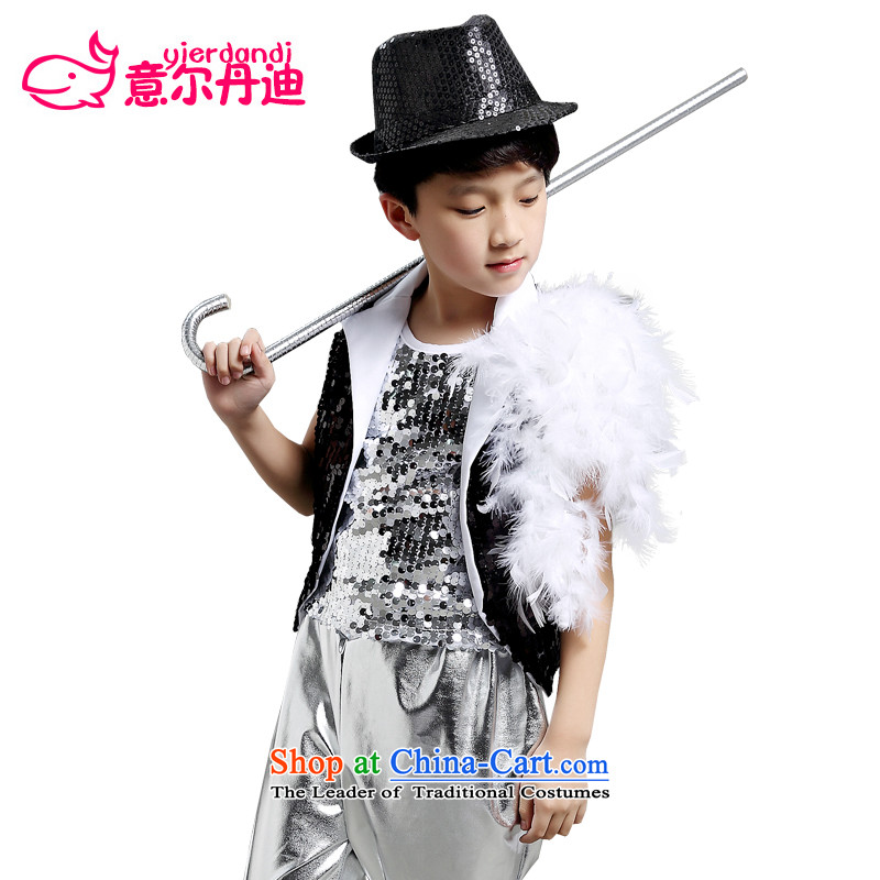 The new boys and girls modern dance jazz dance performances services for children with child model stage show handsome costume services Black聽160