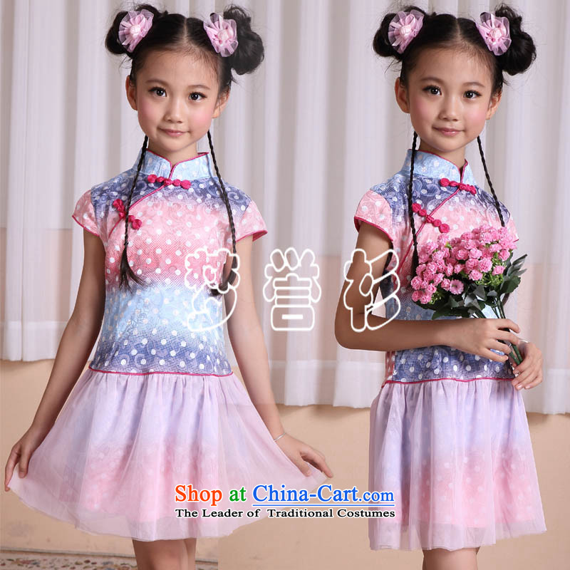 Goodwill Visit to the Netherlands baby girl child care Tang dynasty princess skirt the interpolator cheongsam dress uniform dress guzheng performances showing the load spring and summer clothing New China wind fresh cuhk children's wear blue gradient 120-