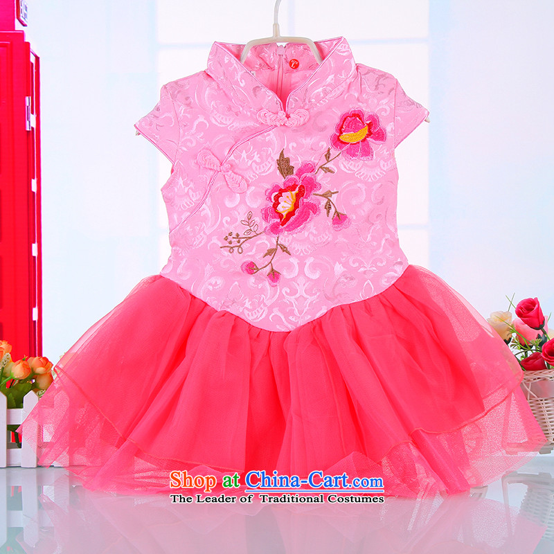 Mr Ronald girls children Tang dynasty porcelain dresses pure cotton short-sleeved dress with child skirt the students skirts princess skirt pink 110